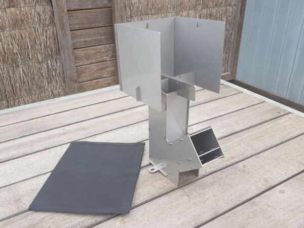 Aussie Rocket Stove SS™ with Windshield SS™